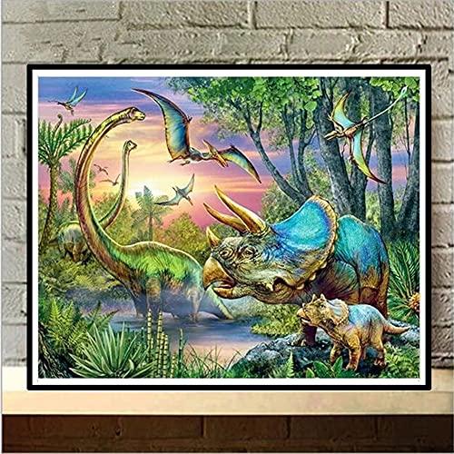 DIY Kit de Pintura de Diamante 5D Adultos/Niños,Cartoon park Animals Diamond Painting Taladro Completo Bordado punto de cruz Cristal decor de la pared del hogar Square Drill,40x60cm