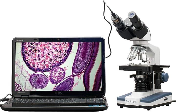 Binocolo digitale 40x-2.500x a led con microscopio con fase 3d + fotocamera usb 5 mp - b120c-e5
