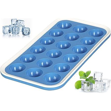 Levivo 331800000023 Bac à glaçons en Silicone pour 18 Demi-lunes, Bleu, 20,5x14,5x3,5 cm