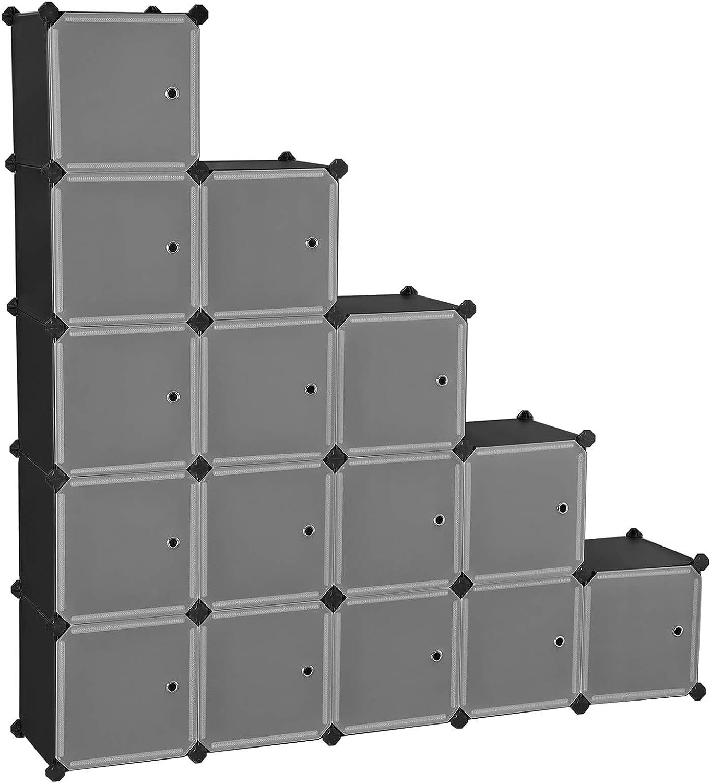Armario Modular de 16 Cubos SONGMICS Estanter/ía Modular para Zapatillas Gris LPC443G01 Juguetes Libros Ropa Estanter/ía de Pl/ástico con Puertas F/ácil de Montar