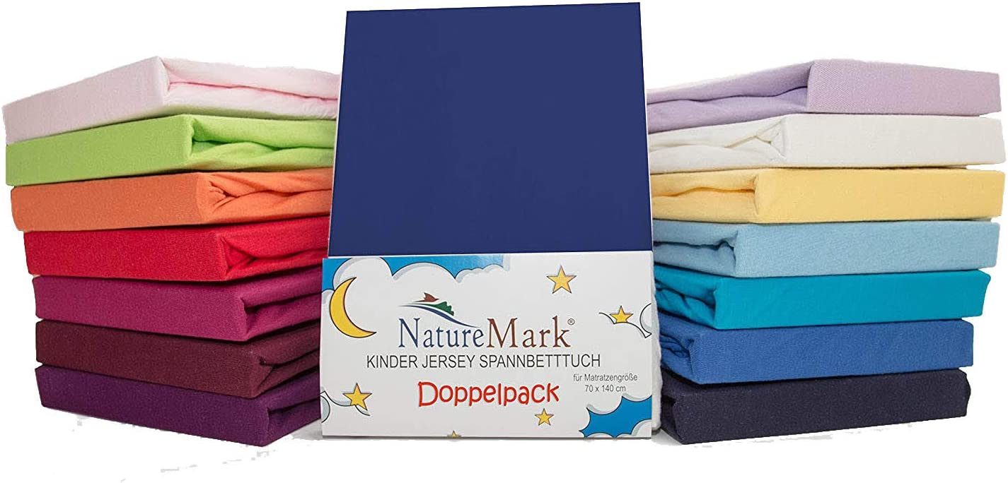 Fabric Navyblau // Marine 70 x 140 cm Pack of 2 x Childrens Jersey Fitted Bed Sheets for Cot Mattresses // 100 /% Cotton // Oeko-Tex Tested // Choice of Many Colours
