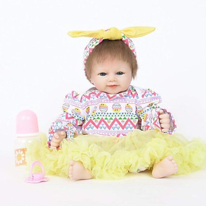 Unexceptionable-Dolls Reborn Puppe Mdchen Puppe Baby 18 Zoll Silikon Vinyl-lebensechte handgemachte süe Kinder   Teen ungiftig Kinder Unisex Spielzeug Geburtstag, gelb