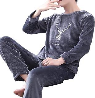 ZhongJue(ジュージェン) メンズ パジャマ 秋 冬 上下セット もこもこ ルームウェア 厚手 起毛 部屋着 あったか