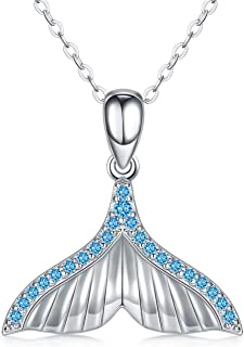 LONAGO 925 Sterline D'argento Collana con Opale Blu Tema Dell'oceano Carino Coda di Pesce Delfino Tartaruga Pendente Colla...