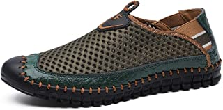 LFSP Mens Penny Loafers Boat Shoes Casual Loafer for Men Antislip Driving Shoes Slip on Style Microfiber Leather Handmade Sewing Captoe Elastic Bands A (Color : Green, Size : 41 EU)