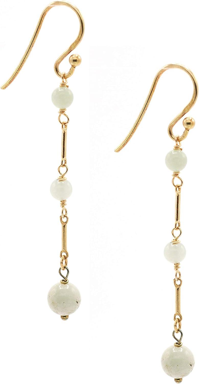 14k Gold Filled Linear 4 mm Jade Triple Bar-Drop Fishhook Earrings