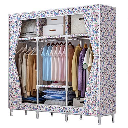 MFASD Opbergkast van stof met stang, kledingkast, kledingkast van stof, Oxford-stof, kast, draagbaar