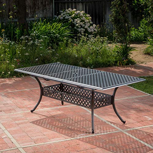 81' Black Contemporary Rectangular Expandable Outdoor Dining Table