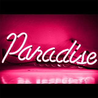 Neon Light Paradise Sign Beer Bar Signs Handmade Pink Glass Neon Sign Beer Bar Pub Party Wall Decor Lamp, Paradise, 14