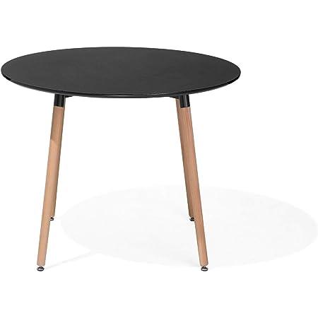 Table de Salle à Manger - Table de Cuisine - Noir - 90 cm - Bovio