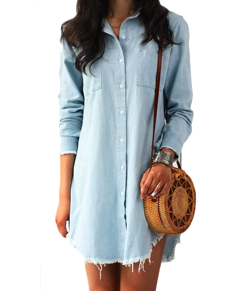 Available at Amazon: RUEWEY Women Denim Blue Jeans Dress Long Sleeve Blouse Loose Shirt Mini Dresses