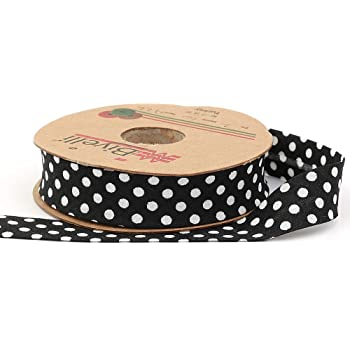 20mm-13//16inch White Bias Binding Tape with Polka Dots Single Fold Various Colors 25 meters-27.34yds DIY Garment Accessories Brown