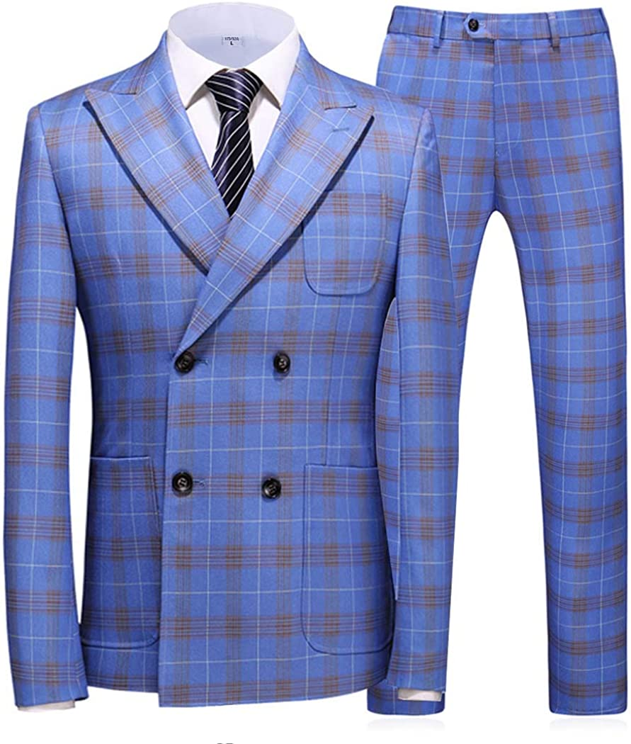 FittyTuxe Men's 3-Piece Suit Classic Fit Double Breasted Plaid Blazer Dress Wedding Bridegroom Party Suits