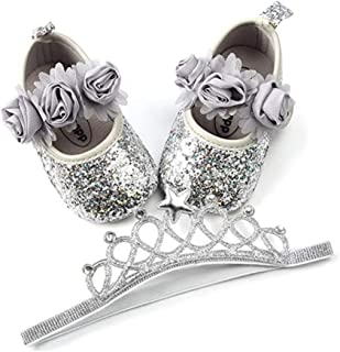 RVROVIC Baby Girls Mary Jane Flats Sparkly Soft Sole Infant Crib Shoes with Headband