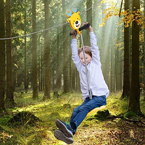 PaNt 30m Enfant Tyrolienne avec Frein à Ressort en Acier Inoxydable et siège de balançoire,Kit Zipline de câble en Acier galvanisé résistant de 6 mm de diamètre pour Enfants Jouant