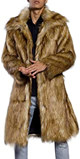 iLXHD Men's Faux Fur Trench Coat Jacket Parka Thicker Warm Outwear Cardigan