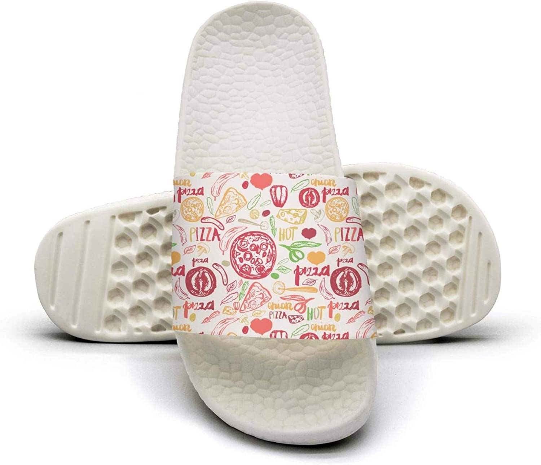 Beautiful Women Pizza Triangle Circles hot Slip on Beach Sandals and Anti-Slip Shower Slipper Comfort Sandals