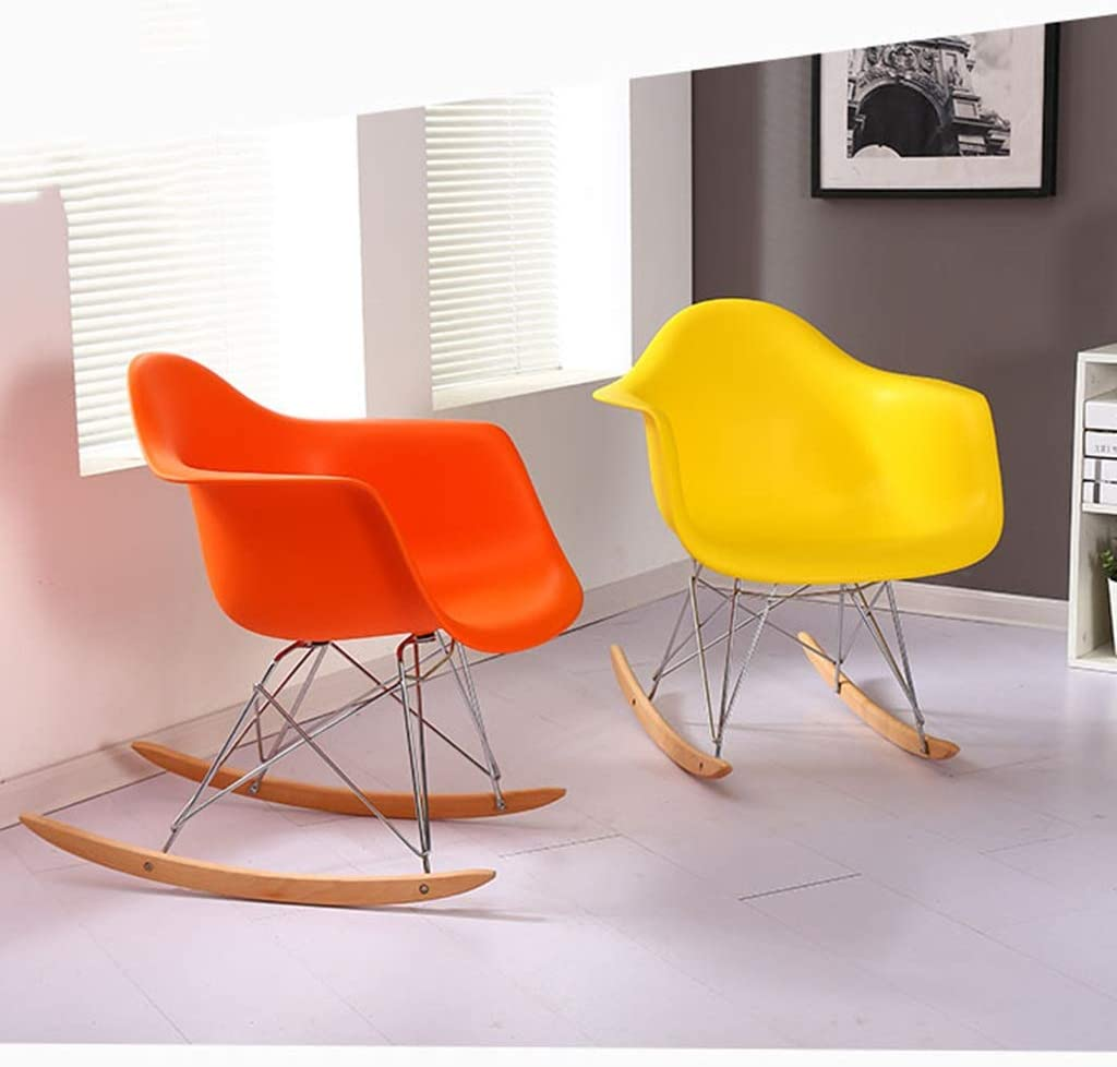 HURONG168 Chaises de cuisine Fauteuil berçant inclinable chaise de conversation chaise chaise moderne minimaliste chaise nordique siège lounge (Couleur : Blanc) Jaune
