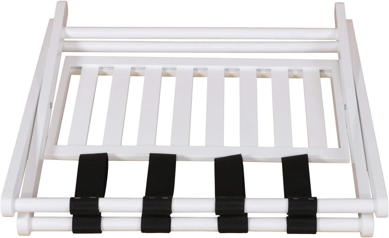 Penguin Home Koffer aus hochwertigem Mangoholz mit antikwei/ßem Finish 2-st/öckiger Koffer-Rack-Gr/ö/ße L67 x B47 x H50 cm zusammenklappbar mit einfacher Montage
