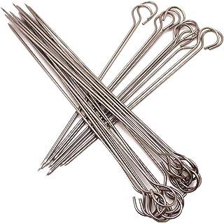 Aisnluk BBQ Skewers Stainless Steel (20 Pcs) Kebab Skewers, Skewers for Grilling, Metal Kebab Sticks, Stainless Steel, 6-I...