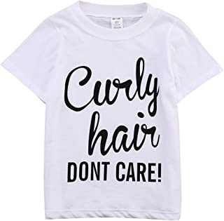 Kids Toddler Baby Girls Boys Curly Hair Don't Care Print Summer White T-Shirt Tops Outfit