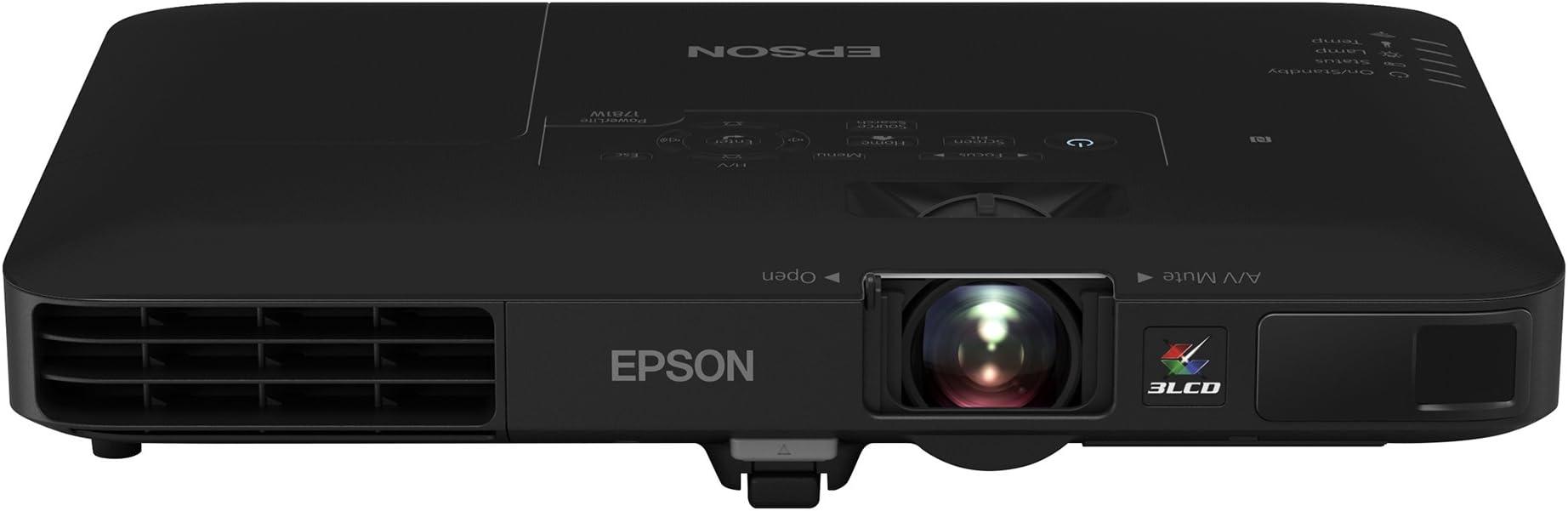Epson PowerLite 1781W WXGA, 3,200 lumens color brightness (color light output), 3,200 lumens white brightness wireless 3LCD Portable Projector , Black