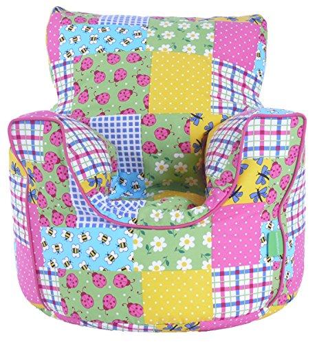 Cotton Patchwork/Ladybird Bean Bag Arm Chair with Beans