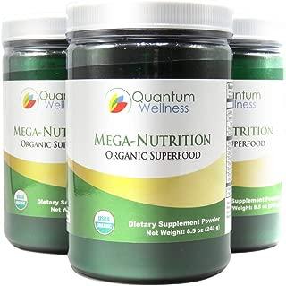 Mega-Nutrition Organic Green Superfood Powder Infused Turmeric, Chlorella, Moringa Leaf to Help Boost Energy, Lower Cholesterol, and May Lower Blood Sugar Levels (3 Bottles)