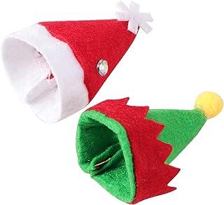 SUPVOX Toppers vino mini cappello lecca lecca di Natale elfo cappello 20pcs per decorazioni di argenteria di Natale