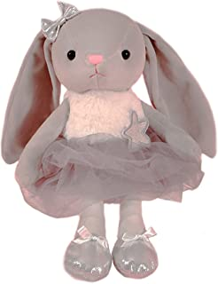 Ballerina Dolls Plush Bunny Rabbit Soft Toys Ballet Dance Recital Gifts for Girls Gray 15.5 Inches