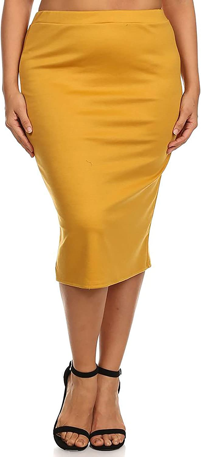 Women's Plus Size Solid Casual Knee Length High Waist Pencil Skirt/Made in USA
