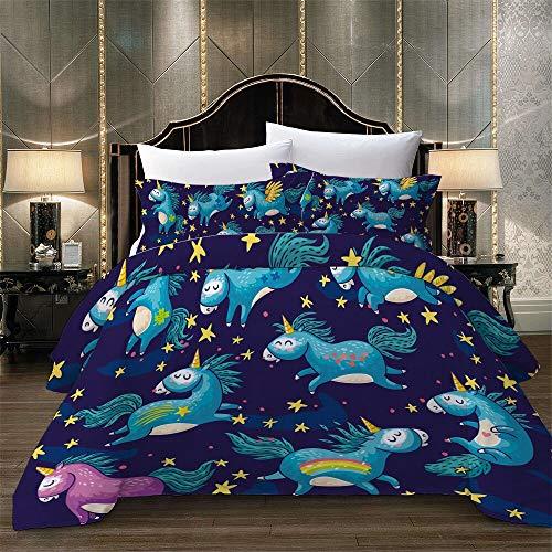 tonywu Bedding Sets 3 Piece, Cartoon Unicorn Bed Linens Set Horse Printed Duvet Cover Set, With Zipper Closure For Kids Bedding Decor Blue horse 220x240cm