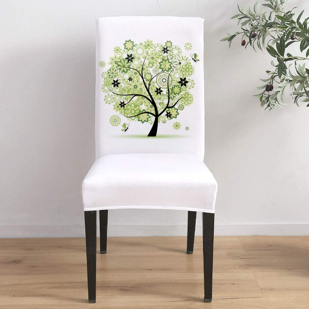 Dining Room Stretch Chair San Diego Mall Cover T Floral Mandara Green Popular Slipcover