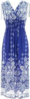 Exotic Print Smocked Waist Maxi Dress Plus & Regular Sizes