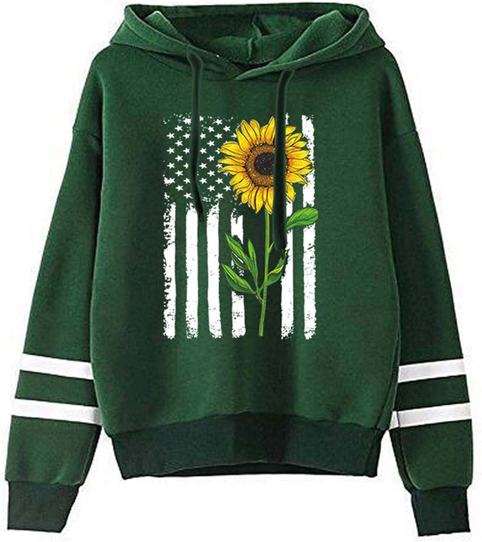 Womens Hooded Sweatshirts Sunflower Print Pullover Long Sleeve Hoodies Sweatshirt Casual Sweater Jumper Tops