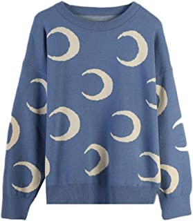 Autumn New Women Hedging Long-sleeved Round Neck Crescent Printing Loose Knit Tops YYangxiangf