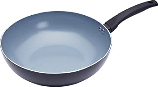MasterClass Master Class Safe Non-Stick Induction Ready Ceramic Eco Wok, Steel, Black, 29,5 cm