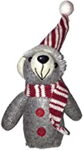 """LeCoCo 8"""" Plush Christmas Mouse Ornament, Heather Grey with Red & White Hat and Scarf"""