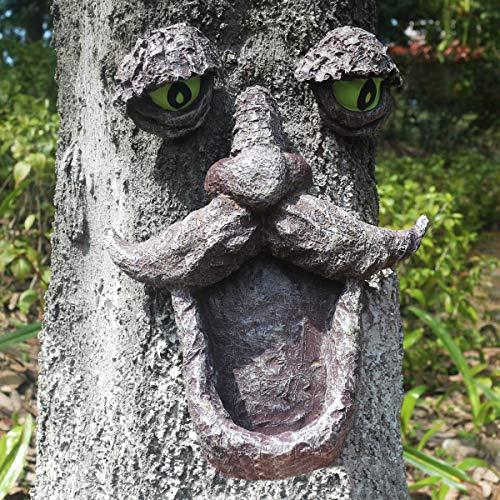 Tree Faces Decor Outdoor, Old Man Wild Bird Feeder Tree Hugger Statues in The Dark Eyes Garden Decor Yard Art