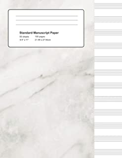 Standard Manuscript Paper: White Marble Blank Sheet Music