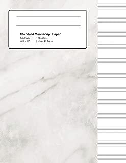 Standard Manuscript Paper: White Marble Blank Sheet Music (Notebook for Musicians)