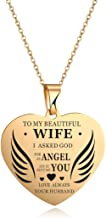 Stainless Steel Charm Love Heart Wing Pendant Necklace to My Beautiful Daughter Wife Granddaughter My Sweet Angel Choker Chain Jewelry from Dad Mom Grandma