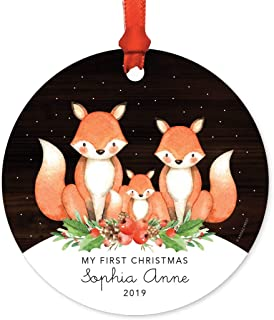 Andaz Press Personalized Baby 1st Christmas Metal Ornament, My First Christmas, Sophia Anne 2019, Watercolor Fox in Snow, 1-Pack, Includes Ribbon and Gift Bag, Custom Name
