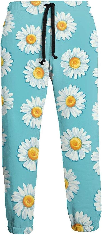 Men's Women's Sweatpants Daisy Floral Flower Blue Athletic Running Pants Workout Jogger Sports Pant