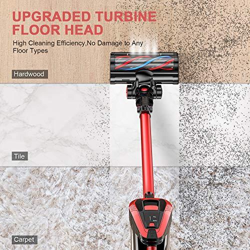 MOOSOO Cordless Vacuum, Stick Vacuum Cleaner with 300W 24Kpa Super Suction 35min Runtime 2500mAh Battery 4 in 1 Handheld Vacuum for Pet Hair Carpet Hard Floor, K24