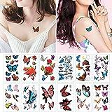 BLOUR Etiqueta engomada de los Tatuajes de Mariposa 3D Mujeres Sexy Art Impermeable Mujer Volver Tatuajes temporales Chicas Pecho Muñeca Tatuaje Etiqueta 16pc / Set
