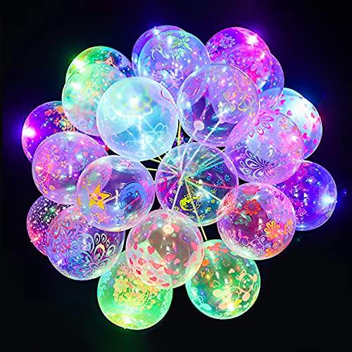 Seglory 50 globos luminosos LED con luz intermitente, bonitos globos para bodas, fiestas, cumpleaños, festivales, Navidad, decoración, incluye pilas, con varillas, soporte y bomba para globos.