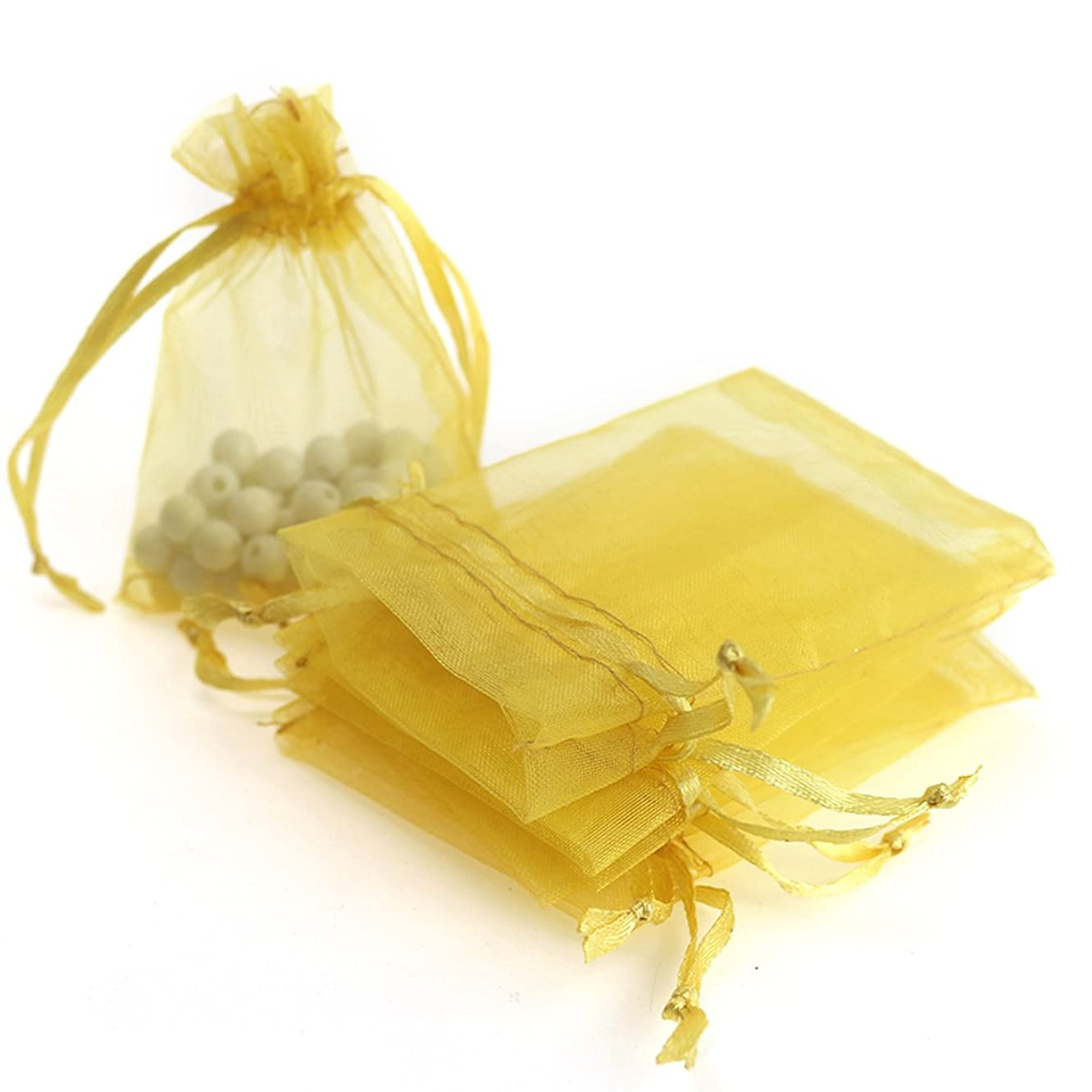 100pcs 3.6x4.8''(9x12cm) Organza Gift Bags, Drawstring Pouches Jewelry Party Wedding Favor Gift Bags,Candy Bags. (Golden)