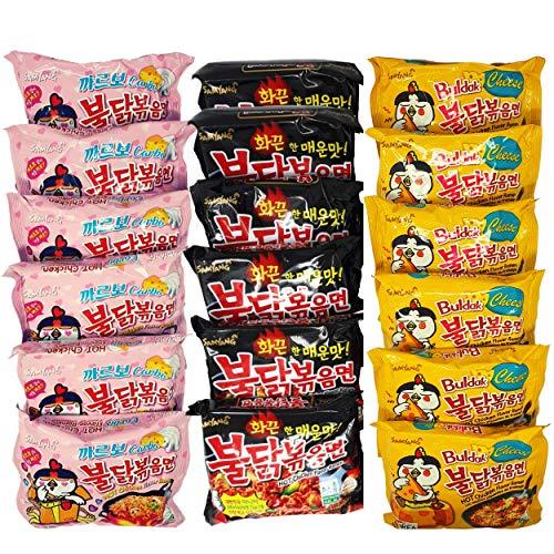 Samyang Fire Noodle Ramen - Schärfste Nudeln der Welt Set   Hot Chicken Flavor Ramen - 6x140g ( Cheese Gelb) , 6x140g (Schwarz Original) & 6x145g (Carbonara Rosa)   Vorteilspack 18Portionen