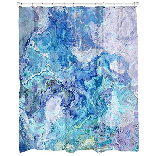 Modern abstract art shower curtain in aqua and blue, Cloud Nine
